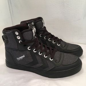 NWT Hummel Black and Silver High Top Sneakers